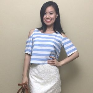 Cold shoulders blue stripped blouse